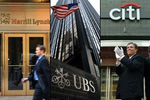 Magnetar worked with major banks, including Merrill Lynch, Citigroup, and UBS. (From left: Daniel Barry/Getty Images; Jonathan Fickies/Bloomberg News; Seokyong Lee/Bloomberg News)