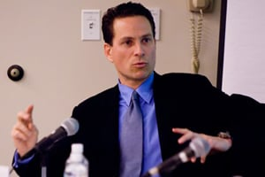Magentar founder Alec Litowitz speaks at a private equity conference held at Kellogg School of Management at Northwestern University in February 2007. (Nathan Mandell)