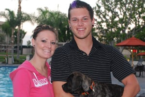 Katherine Clark,  with her boyfriend Daniel Ray and their dog Cadence, said her University of Phoenix recruiter was very friendly until Clark started having problems with the university.