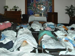 Bodies were placed in Memorial's chapel on the second floor of the hospital. (Tony Carnes/Christianity Today)