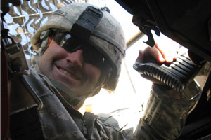 Spc. Jared Hollingshead sustained his second concussion in the rocket attack on Jan. 16, 2009. Afterward, he experienced trouble wth his balance and keeping track of orders from his superiors. (Photo courtesy of Spc. Jared Hollingshead)