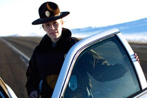 North Dakota State Trooper Megan Christopher never stopped talking to Brock during the two-hour standoff on Sept. 21, 2010. (John W. Poole/NPR)