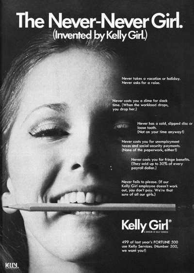 A Kelly Girl advertisement for 'The Never-Never Girl.' (Source: The Office, January 1971, p. 19 via Erin Hatton) | <a href='https://www.documentcloud.org/documents/717839-kelly-services-never-never-girl-ad-from-1971.html'>Larger version</a>